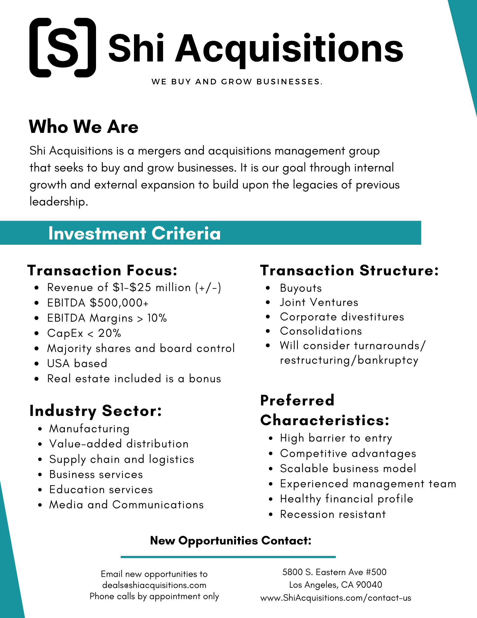 Investment Criteria Shi Acquisitions Shi Hawthorne, MBA